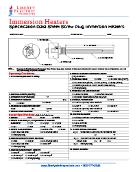 Immersion Heater Screw Plug Specification Data Sheet