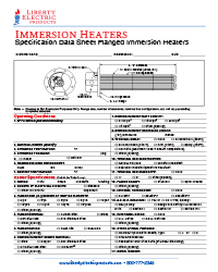 Immersion Heater Specification Data Sheet