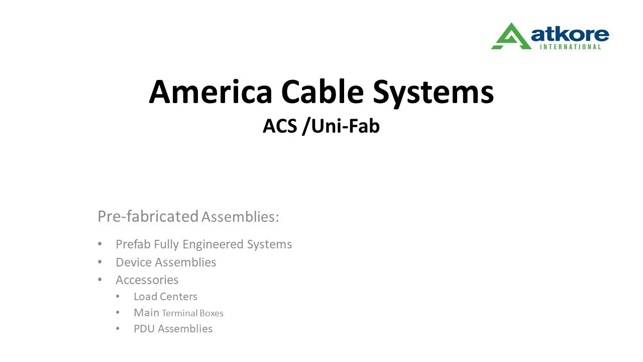 ACS Pre-Fab from AFC Cable Systems Slide Deck